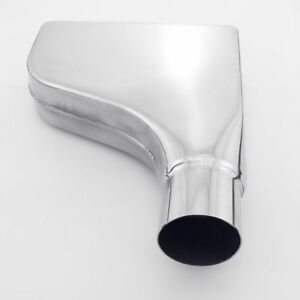 2 25 Inlet 10 Long Rectangle Straight Cut Rolled Stainless Steel Exhaust Tip