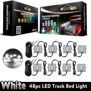 Led Truck Bed Light Strips 8pods White Rear Work Box Lighting Kit Waterproof