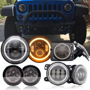 Jeep Wrangler Jk 7 Led Hi Lo Headlights Halo Led Fog Lights Combo Kit 8pcs