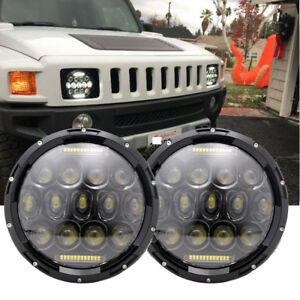 Pair Military Projector 7 Round Led Headlights 12 24 Volt Lmtv M998 M1078 A1