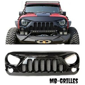2007 2017 Jeep Wrangler Jk Skull Style Grille Gloss Grill With Mesh 07 17