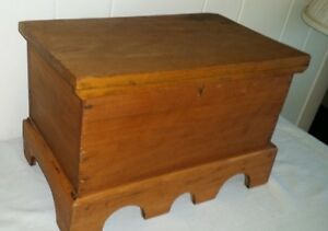 Vintage Antique Miniature Blanket Chest Document Box 14 By 8 By 9