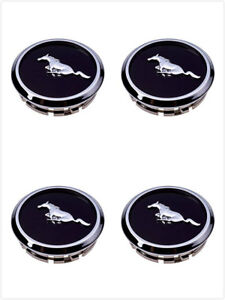4x Mustang Wheel Center Hub Caps Covers Black Chrome Pony Emblem 2005 2014