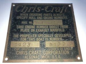 4 Inch X 3 5 8 Inch Chris Craft Builders Brass Sign Plaque Boat Ship