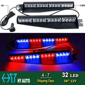 34 32 Led Lights Bar Emergency Warning Visor Mount Dash Strobe Flash Red Blue