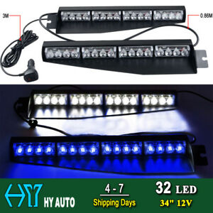 34 32 Led Emergency Warning Visor Mount Dash Flash Strobe Light Bar Blue White