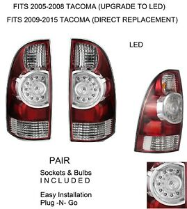 New Pair Driver Passenger Replacement Led Tail Brake Lights For 2005 15 Tacoma