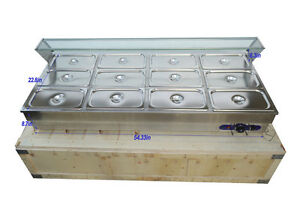 12 pan Hot Well Bain marie Buffet Food Warmer Steamer Table 1 3pan