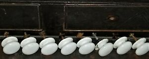 Part 8 Knobs Pulls For Chest Sideboard White Porcelain Early Mid 1800 1 5
