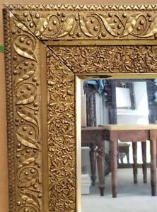 Large Frame Mirror Oil Painting Frame Gilded Aesthetic Leaf Berry 43x38