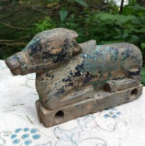 Antique Primitive Hand Carved Horse Toy Missing Wheels Rustic Weathered Figure