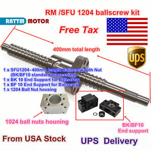 us Stock Ballscrew Sfu1204 l400mm With Nut bk bf 10 nut Housing For Cnc Router