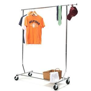 250lb Heavy Duty Clothing Garment Rolling Collapsible Adjustable Rack Chrome New