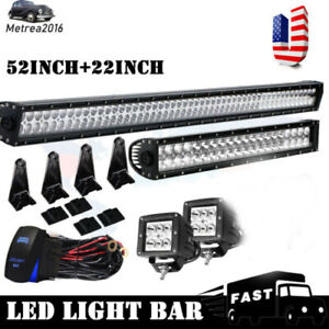 Led Light Bar 52 Inch 22inch W 4 Pods For Jeep Ford Kit Off Road Fog Lamp Suv