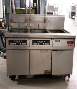 Used Frymaster Nat Gas 2 Bank Fryer With Filter System And Dump Station