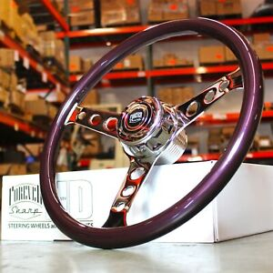18 Big Rig Purple Wood Steering Wheel And Polished Forever Sharp Horn Button