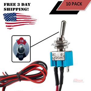 10 Pack Pre Wired Mini Toggle Switch On Off 6a 125v For Car Truck Rv 12v