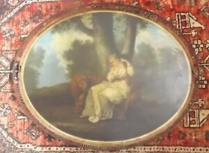 Massive 19th Century Antique Hand Painted Tole Tray With Maiden Lion And Donkey