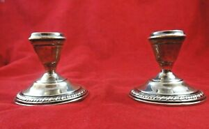 Pair Of Vintage Sterling Silver Gadroon Edge Candlestick Holders 4731