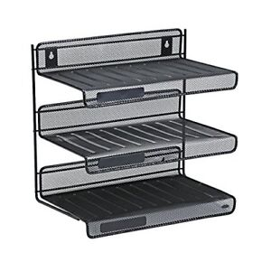 Storage Tray Mesh Collection 3 tier Desk Shelf Letter size Color Black Hung