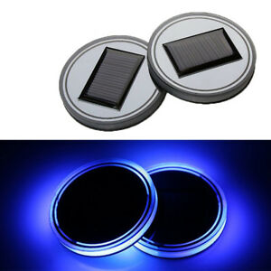 2pcs Universal Solar Blue Holder Led Auto Pad Cover Energy Car Light Bottom Cup