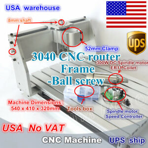 us 3040 300w Spindle Cnc Router Kit Engraving Ball Screw Milling Machine Frame