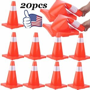 20pcs Traffic Cones 18 Slim Fluorescent Reflective Road Safety Parking Cones Mx
