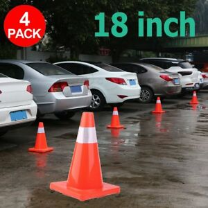 4pcs 18 Road Traffic Cones Reflective Overlap Parking Emergency Safety Cone Mx