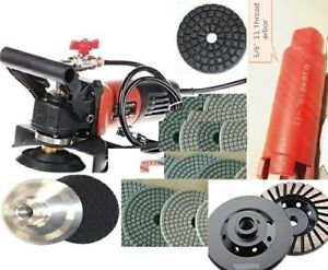 Wet Polisher Diamond 1 And 1 1 2 Core Bit 20 Pad Grinding Cup Stone Concrete