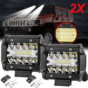 2x 4 Inch Led Work Light Flood Spot Combo Off Road Driving Fog Lamp Truck Boat