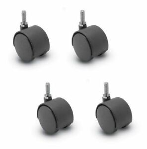Four Furniture Casters 2 Twin Wheel Threaded Stems 5 16 Dia