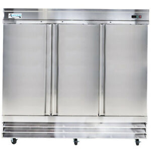 80 7 8 Stainless Steel 3 door Upright Commercial Kitchen Reach in Freezer