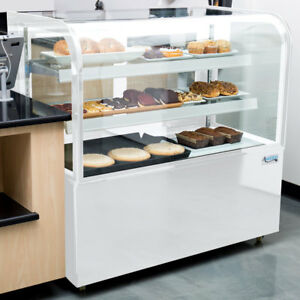 48 Curved Glass White Dry Unrefrigerated Led Lighting Bakery Display Case 115v