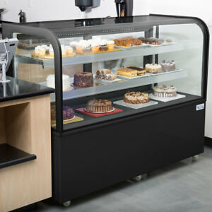 60 Curved Glass Black Refrigerated Bakery Display Case With Led Lighting 115v