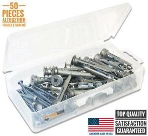 Heavy Duty Self drilling Zinc Toggle Drywall Anchors With Screws Kit 50 Pieces