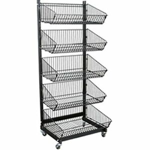 New Retails 5 Basket Metal Impulse Display Rack 23 1 2 In W X 21 In D X 58 In H