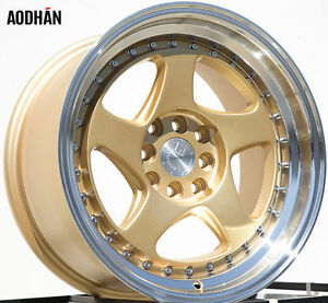 Aodhan Ah01 16x8 4x100 114 3 15 Gold Wheels Rims Set Of 4