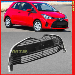 Painted Black With Chrome Trim Front Grille For 2015 2018 Toyota Yaris Hatchback