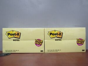 48 Packs 3m Post It Notes 3 X 5 Canary Yellow Value Packs 4800 Pages 24d