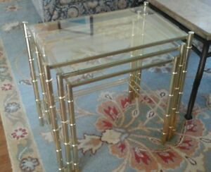 Faux Bamboo 3 Nesting End Tables Metal Gold Hollywood Regency Mid Century Modern