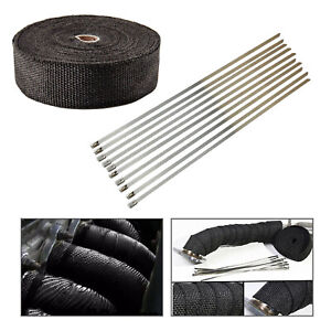 2 50ft Exhaust Manifold Header Black Pipe Heat Wrap Tape 10 Ties Kit High Temp