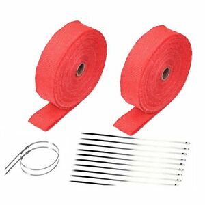2 Rollx 2 50ft Red Fiberglass Exhaust Header Pipe Heat Wrap Tape 20 Ties