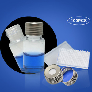 10ml Sample Vials Glass Bottles Aluminum Cap Screw Thread Ptfe Pad Hplc 100pcs