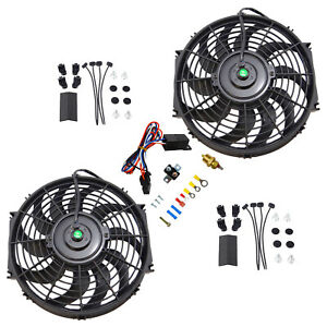 2x 12 electric Cooling Fan Black Push in Radiator Fin Probe Thermostat Kit