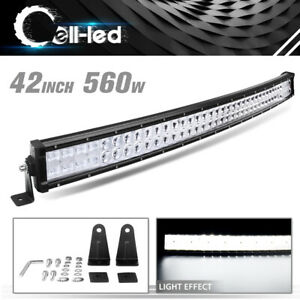 42inch 40 560w Led Work Light Bar Spot Flood Curved Offroad Driving Jeep Truck