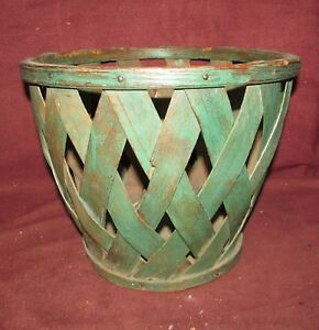 Antique Splint Fruit Basket In Old Green Paint Primitive Americana