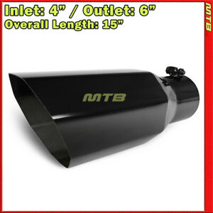 Universal Exhaust Tip Truck Angled Octagon Black 15 Inch Bolt on 4 In 6 Out