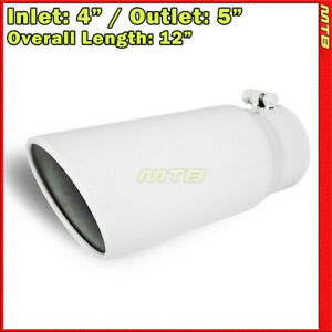 Exhaust Tip 214332 Stainless Truck Angled White 12 Inch Bolt on 4 In 5 Out