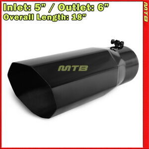 Exhaust Muffler Tip 214118 Truck Angled Octagon Black 18 Inch Bolt on 5 In 6 Out