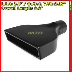 Exhaust Muffler Tip 214186 Angle Rectangle Flat Black 9 8 Inch Weld On 2 5 In